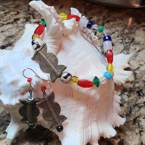 African bracelet and earrings in